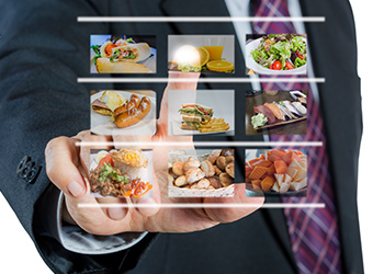 PointofSale businessman digital food display restaurants and technology