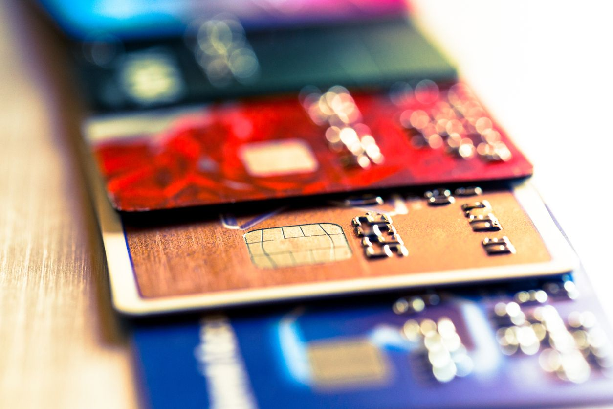 PointofSale Credit Card Pile Chip card vs. magnetic stripe card