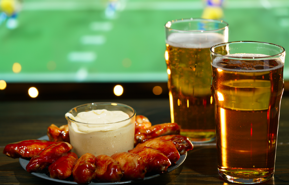 PointOfSale watching football with wings and beer super bowl catering-01